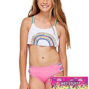 Pink & White 2 Pcs Justice Bikini Swimsuit Size 16